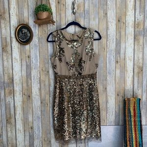 Elie Tahari Nude Fitted Sequin Snake Pattern Dress